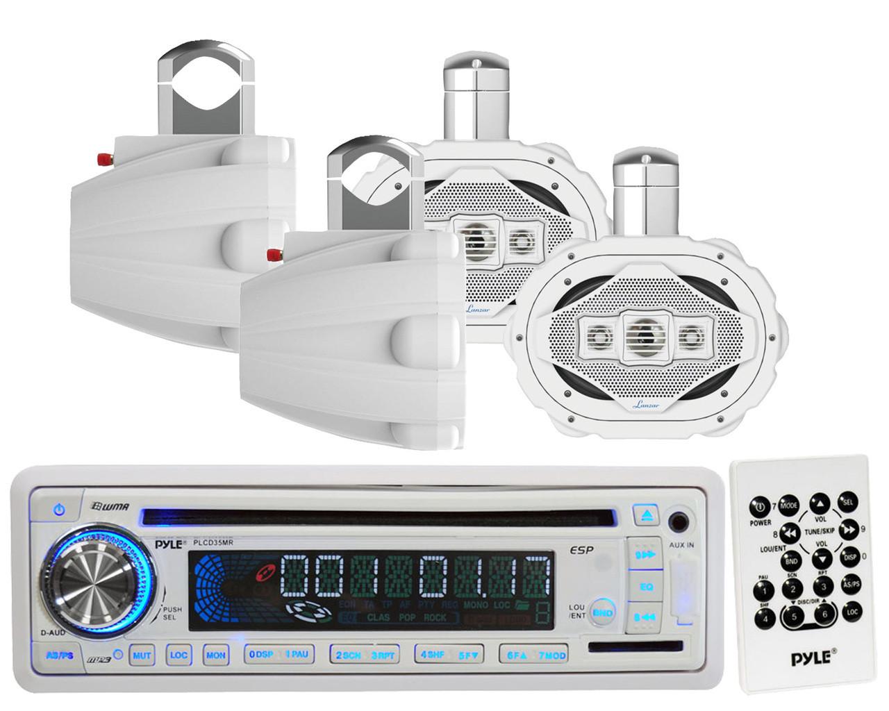 Pyle Marine AM FM AUX CD USB Radio,2 Lanzar 6x9