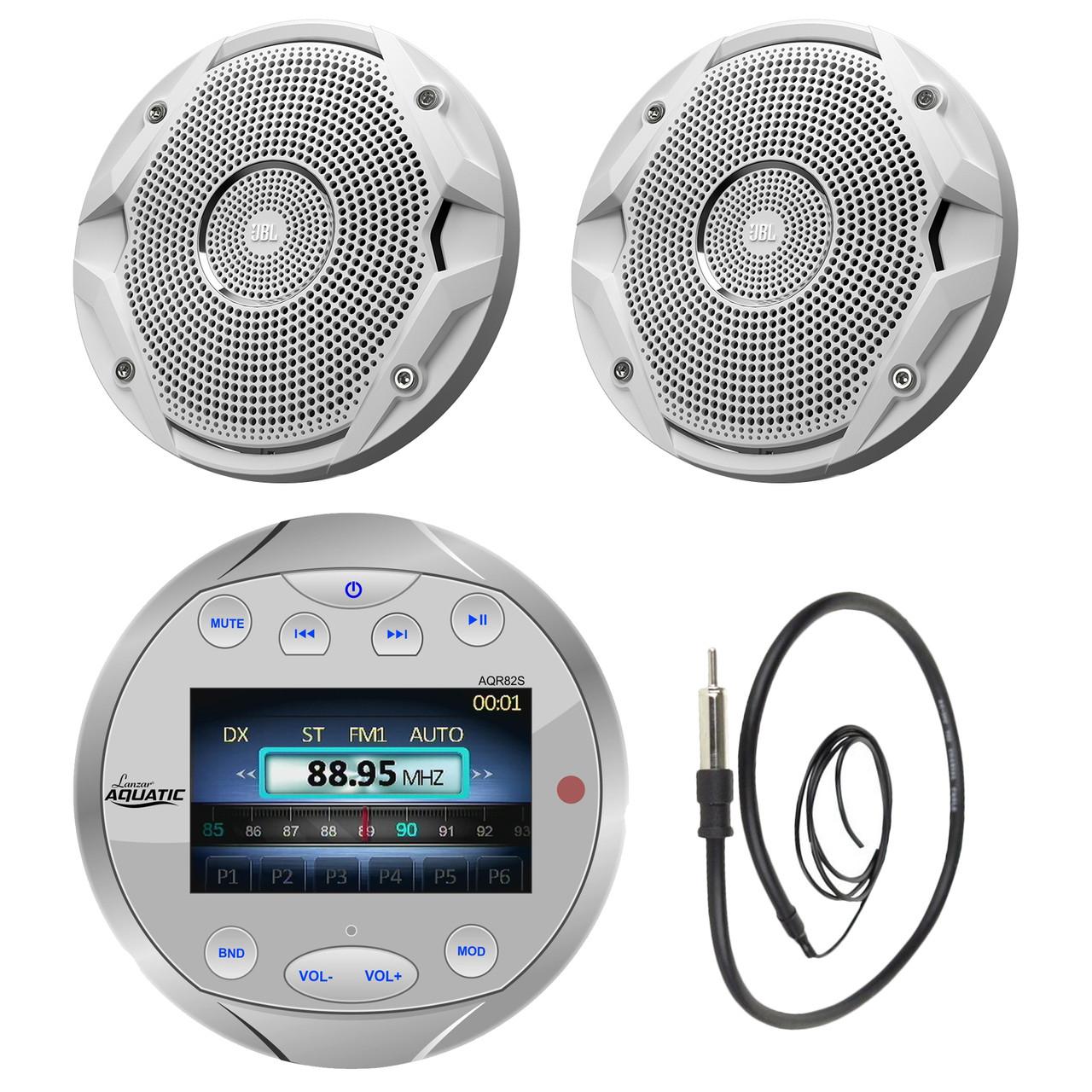 Lanzar AQR82S Waterproof Bluetooth Marine Silver Digital Media Receiver on mercury marine wire harness, marine starter wiring, marine wiring accessories,