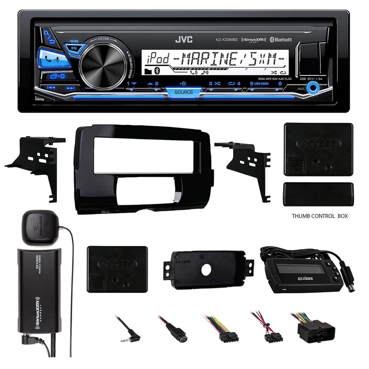 JVC Marine Bluetooth USB Radio, Harley FLHTC FLHT Install Adapter Kit, XM  Tuner