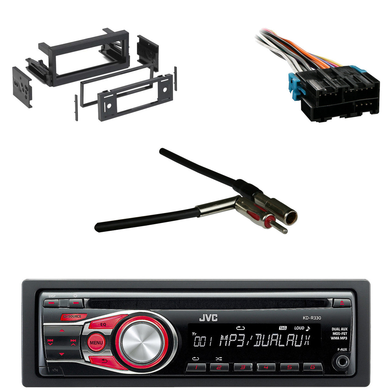 JVC KDR330 CD AUX Car Radio, Antenn Adapter, GM Wire Harness, GM Dash on jvc kd g200 wiring-diagram, jvc r330 wiring-diagram, jvc kd avx2 wiring-diagram, jvc kd avx1 wiring-diagram, jvc cd player wiring-diagram, jvc harness diagram, jvc double din, jvc dvd head unit without screen, jvc kd sx-770 wiring-diagram, jvc kd g210 wiring-diagram,