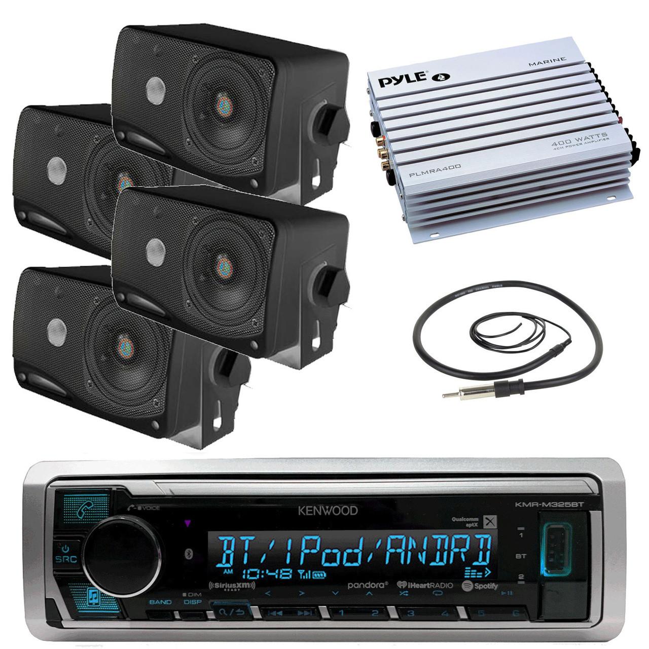 Kenwood Marine Digital Media Bluetooth Receiver, 4x Pyle 3 5'' Speakers  (Black), Pyle 4 Channel Waterproof Amplifier (White), Antenna - 40