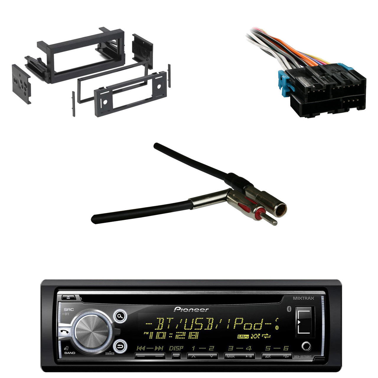 DEH-X6900BT Bluetooth CD AUX Radio, Wire Harness, GM Antenna Adapter, on