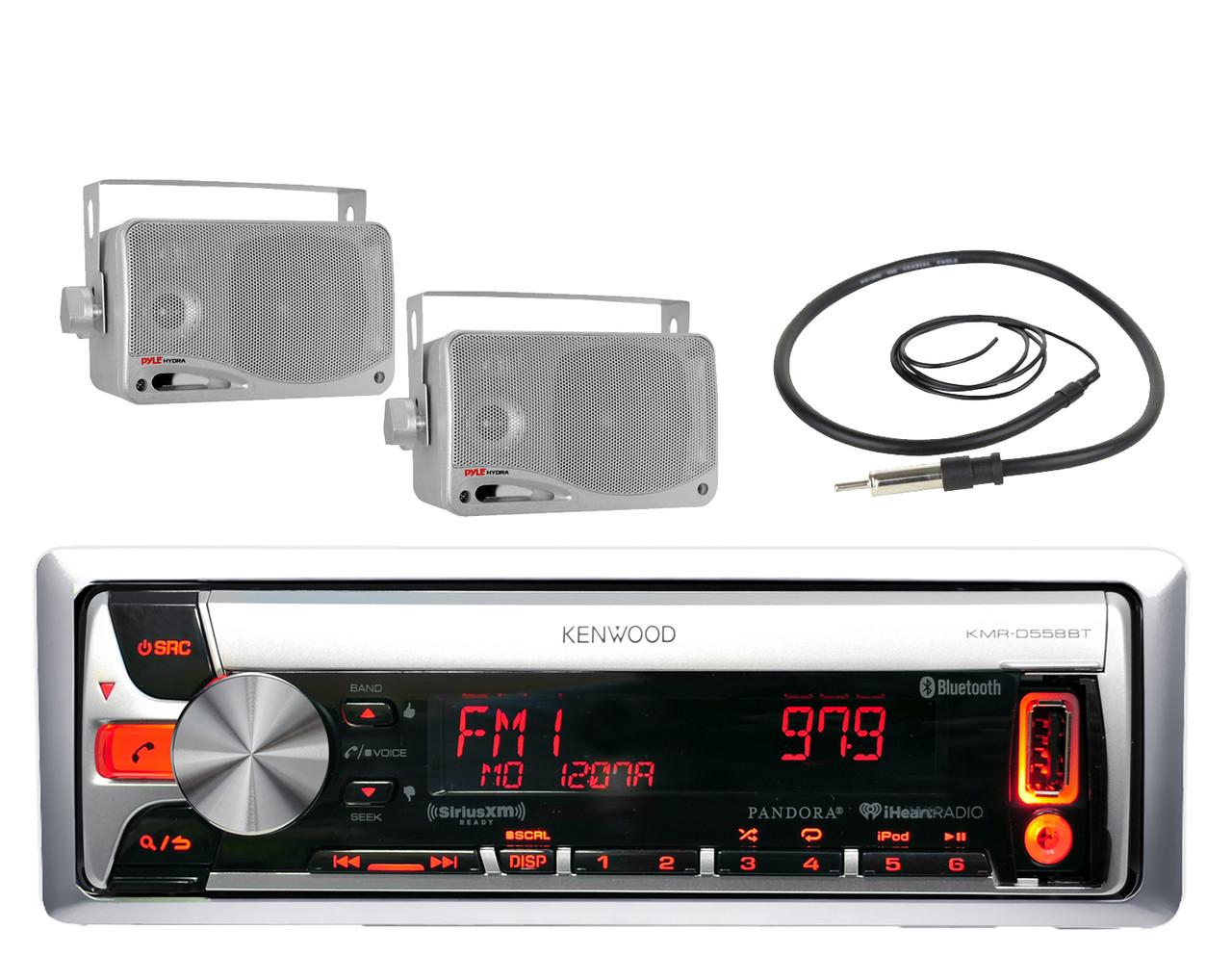 800W Amplifier 6 Black Speakers Marine KMR-D562BT Bluetooth CD MP3 iPod Radio