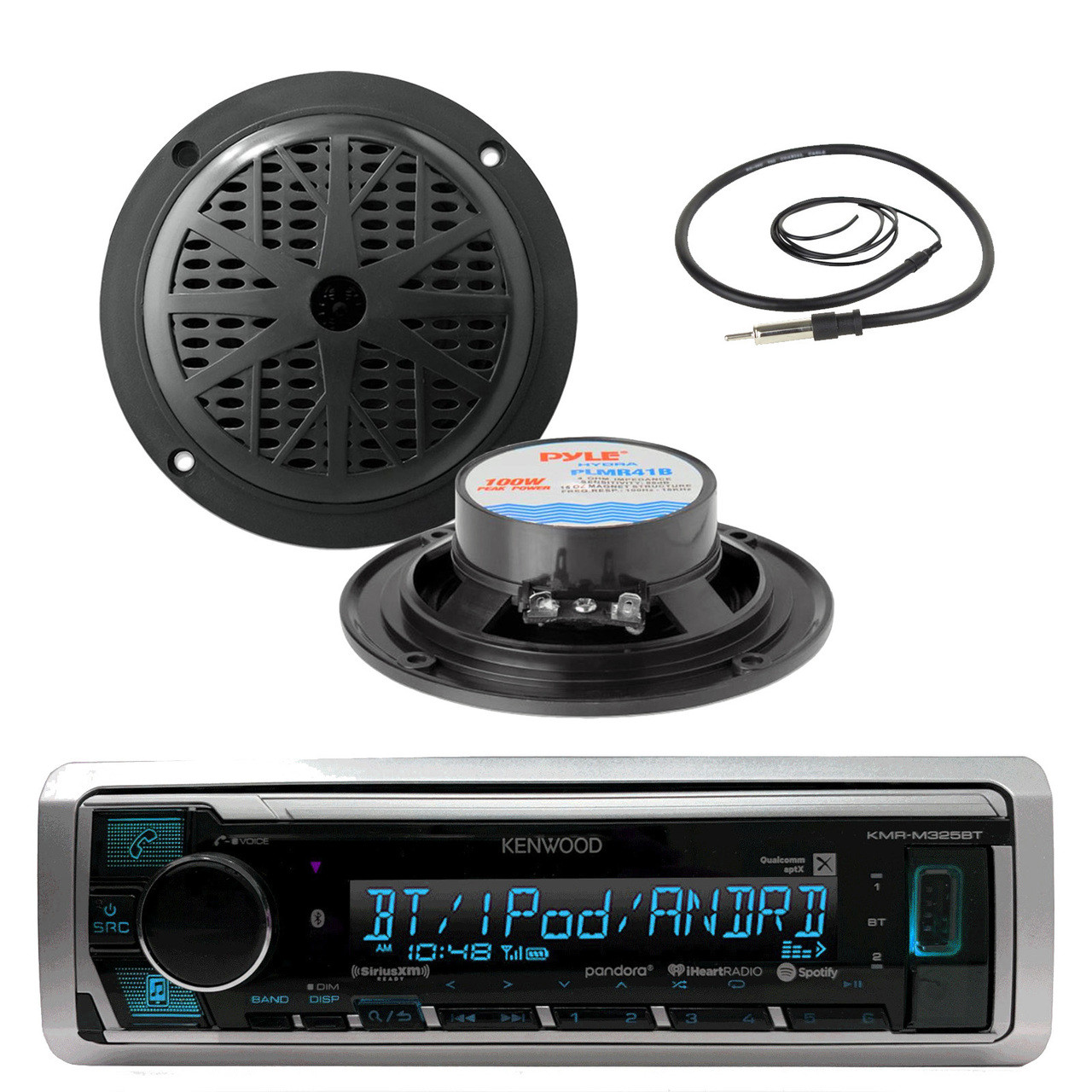 cover New Black Pyle Marine Boat Yacht USB AUX Stereo System /& 2 Speakers Pkg