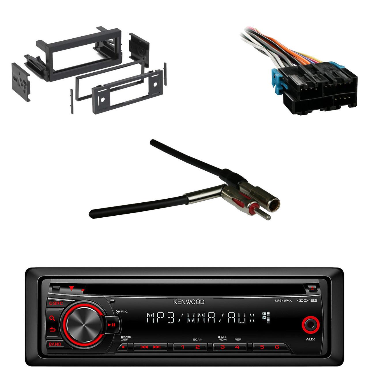KDC152 AUX CD Car Radio, Metra Wire Harness, GM DIN Kit, Metra Antenna on kenwood kdc 138 wire harness, 152 wiring harness, kenwood 152 cd player, kenwood kdc-152 manual,