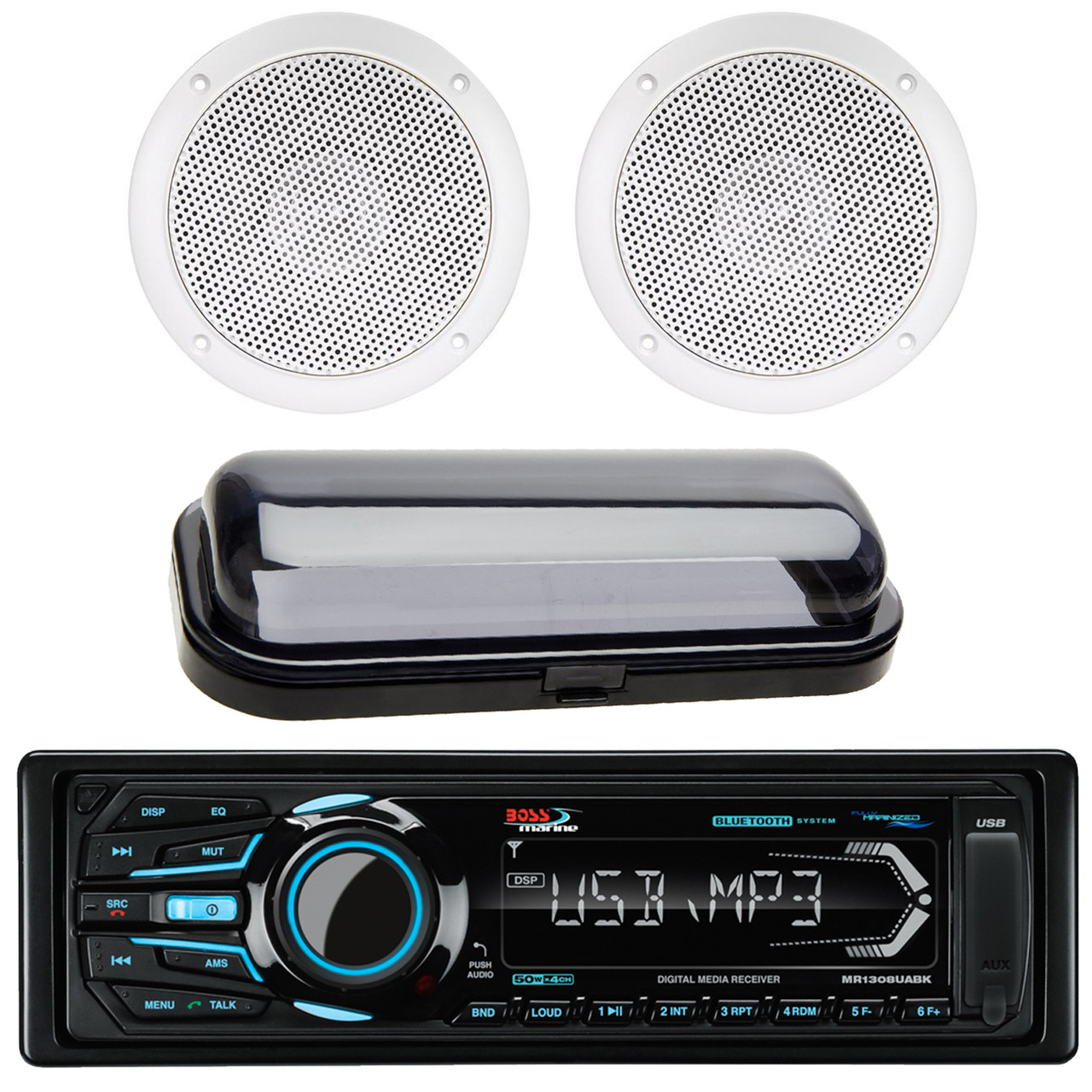 Boss Audio Systems MR1308UABK Single Din Mechless Bluetooth Enabled MP3  Compatible Solid State Receiver, PLMRCB1 Pyle Water Resistant Radio Shield
