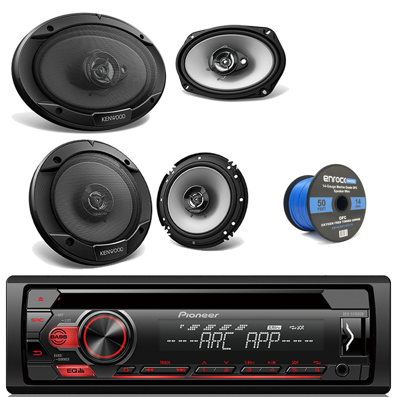 """KDR690S CD Car Radio,6.5/"""" and 6x9/"""" Speakers Bluetooth 400W Amplifier and Kit"""