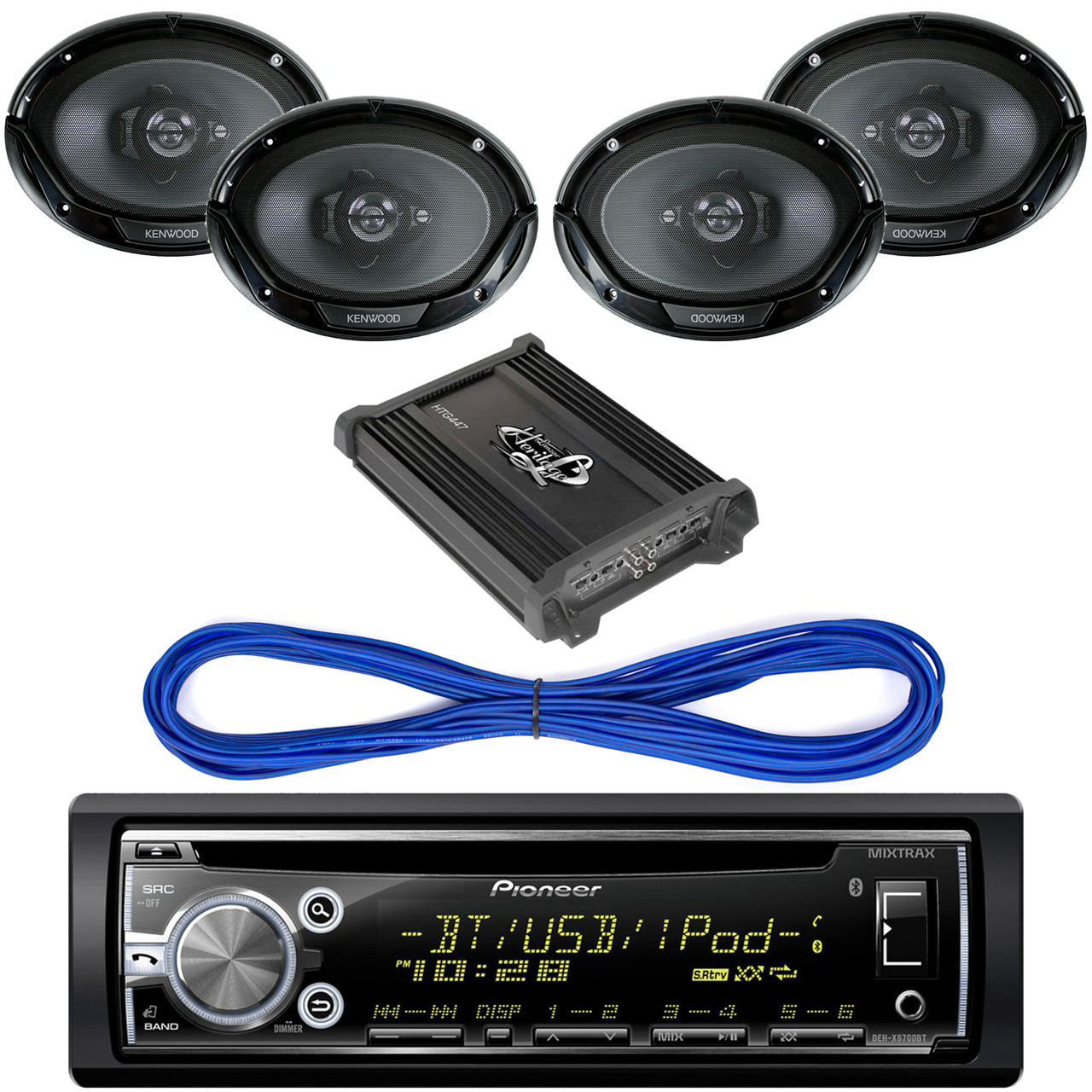 Pioneer DEHS6000BS CD/MP3 Bluetooth Receiver Aux Input USB Multicolor  Illumination With Remote, 14 Gauge 50 Foot Speaker Wire, 2000 Watt 4  Channel
