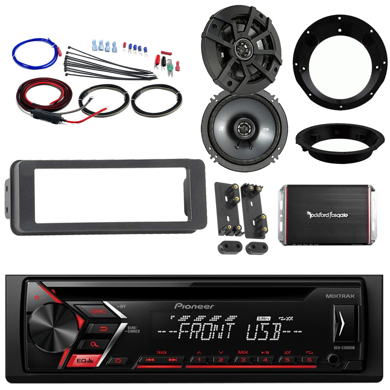 Pioneer CD Harley FLHX Install Adapter Kit,Amplifier Kit,Kicker 6 5