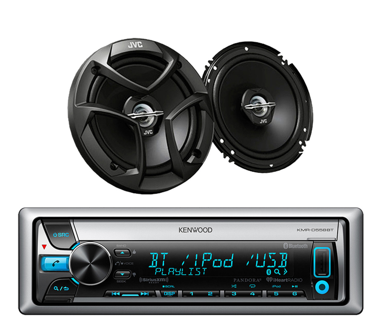 KMR-D558BT Boat Bluetooth CD/MP3 USB iPod iPhone Pandora Receiver+ Car  Speakers