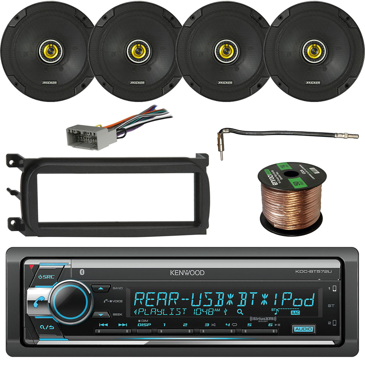 kenwood stereo receiver, bluetooth w/ kicker 600w speakers(2-pairs), enrock  single-din dash kit for chry/dodge/jeep, metra chrysler antenna adapter  cable,
