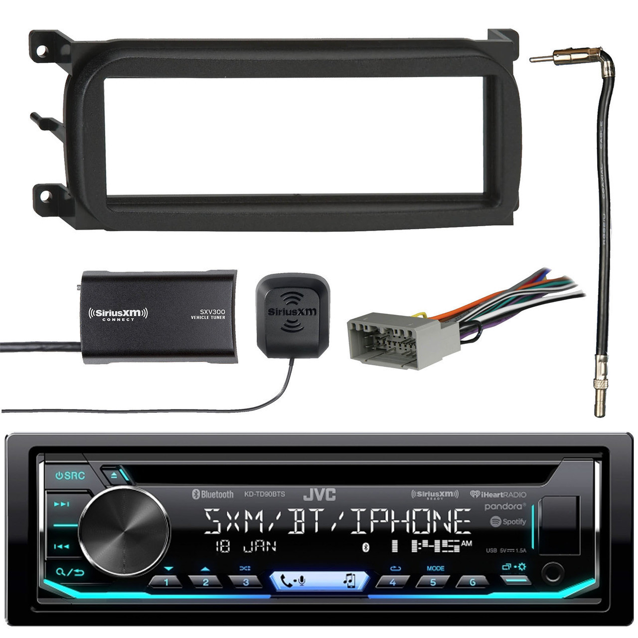 JVC 1-DIN Bluetooth CD/AM/FM Car Stereo with Sirius Radio Tuner, Metra on jvc wiring harness color coating, jvc steering wheel adapter, 7-way trailer wiring adapter, jvc kd r300 wiring harness, jvc kd r210 wiring-diagram, jvc kd s26 wiring harness, jvc headunit wiring-diagram, jvc wiring harness diagram,
