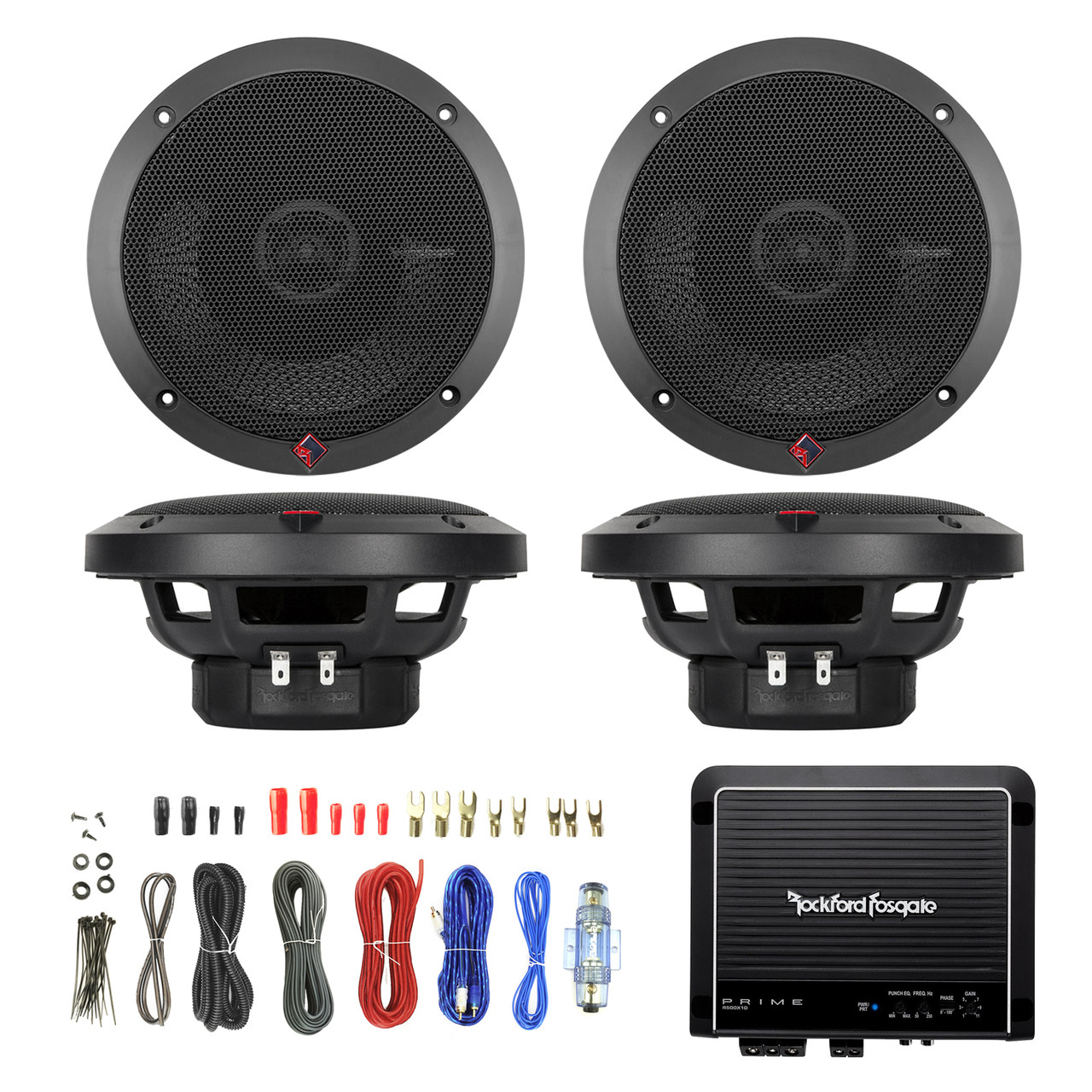 2x Rockford P1650 6 5-Inch 110 Watt 2-Way Full Range Speaker, Rockford  Fosgate Prime R500X1D 500W RMS Prime Series Class D Amplifier, Enrock Audio  8