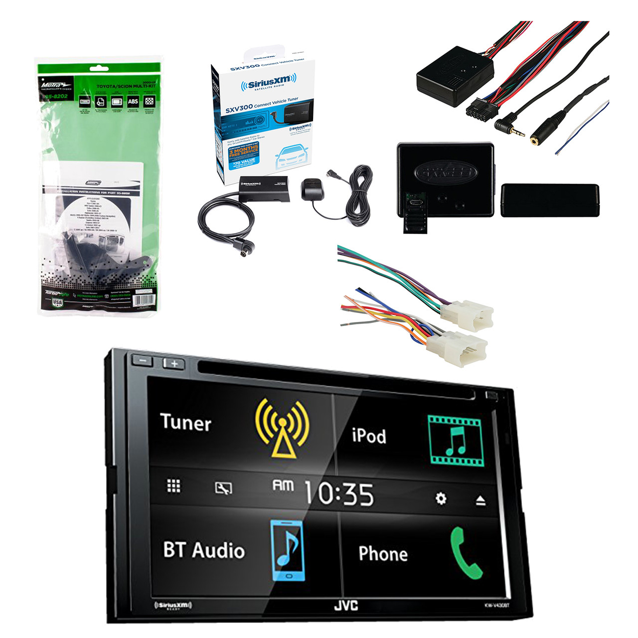 JVC 6.8 Inch LCD Touchscreen 2-DIN Bluetooth Car Stereo Receiver W Universal Wiring Harness Dash on 1987 chevy dash harness, 1967 chevrolet van dash harness, dash gauges, dash radio, 1971 chevelle dash harness, chevy suburban wire harness, 99 firebird dash harness,