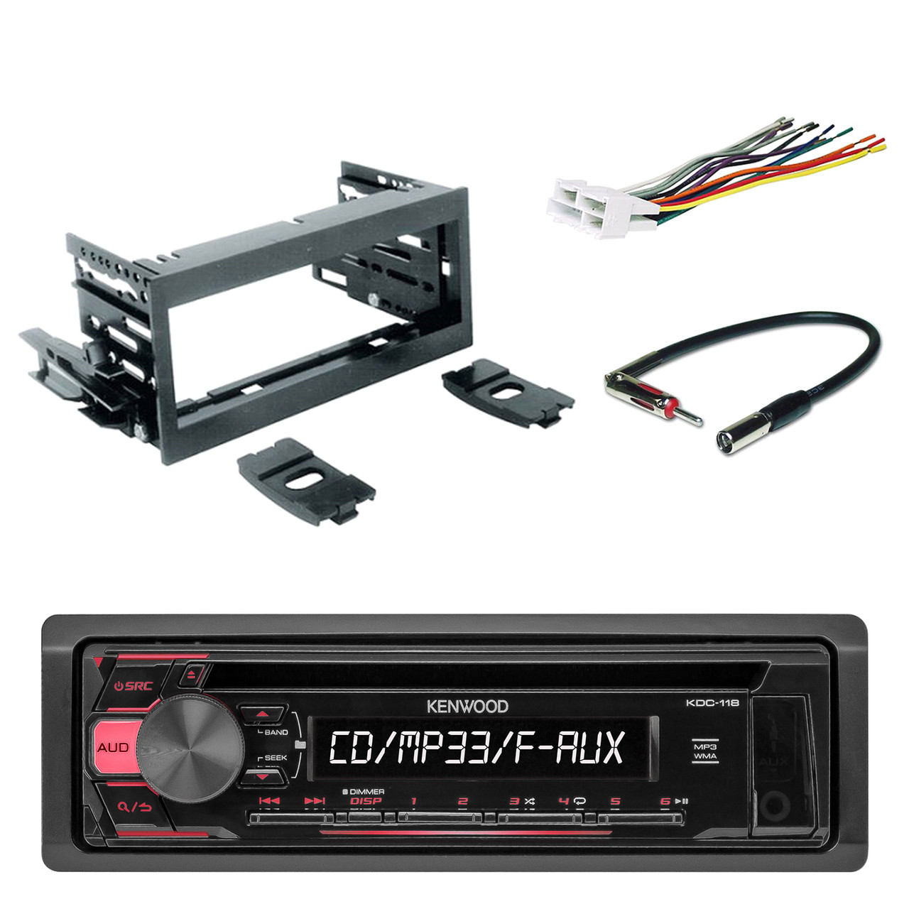kenwood in-dash single-din cd player aux car stereo receiver with scosche  dash kit, scosche gm micro/delco antenna adapter and scosche radio wiring  harness