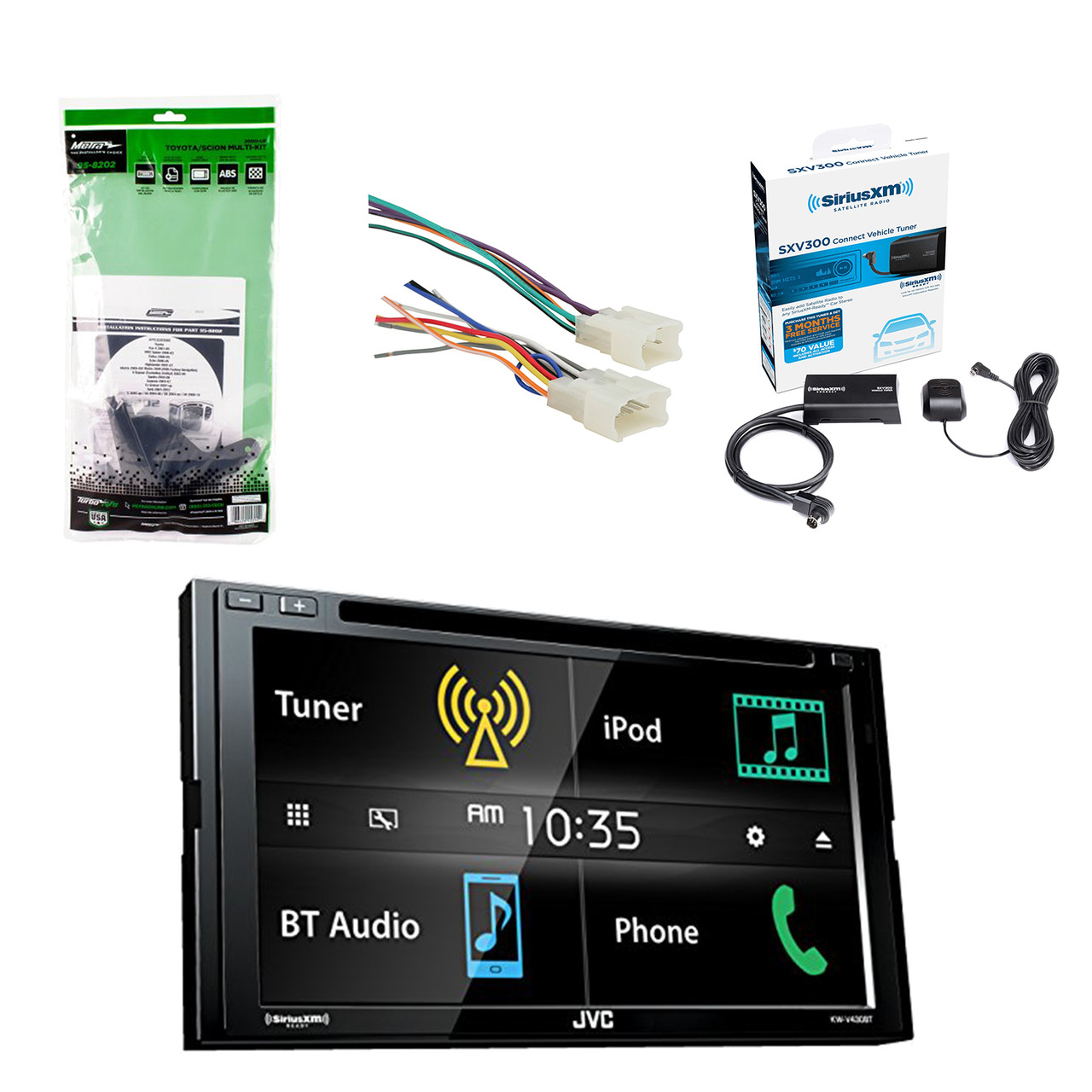 JVC 6.8 Inch LCD Touchscreen 2-DIN Bluetooth Car Stereo Receiver W/SiriusXM Jvc Wiring Harness Toyota on toyota key switch, toyota cooling harness, toyota headlight wiring, toyota iat sensor, toyota spiral cable, toyota door sill protector, toyota steering sensor, toyota wiring switches, toyota line lock, toyota grab handle, toyota strut mount, toyota hood latch, toyota frame paint, toyota body control module, toyota headlight cover, toyota coil packs, toyota throttle cable, toyota rear wheel, toyota temp sensor, toyota ac clutch,