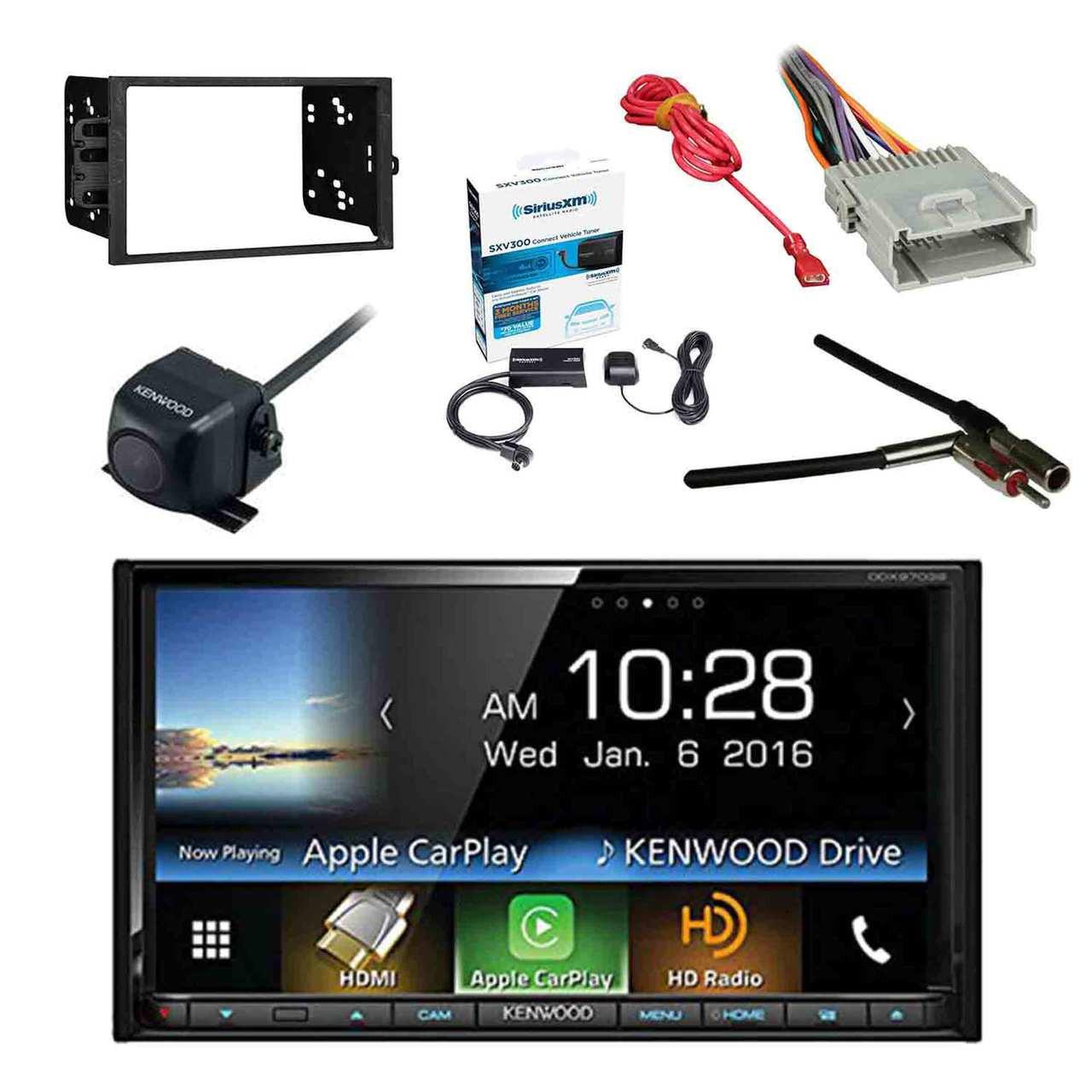 Kenwood DDX9703S 2-DIN DVD/CD/AM/FM Car Stereo Receiver w/Sirius Radio  Tuner, Kenwood Rearview Wide Angle Camera, Metra 2DIN Dash Kit for Radio,  Metra