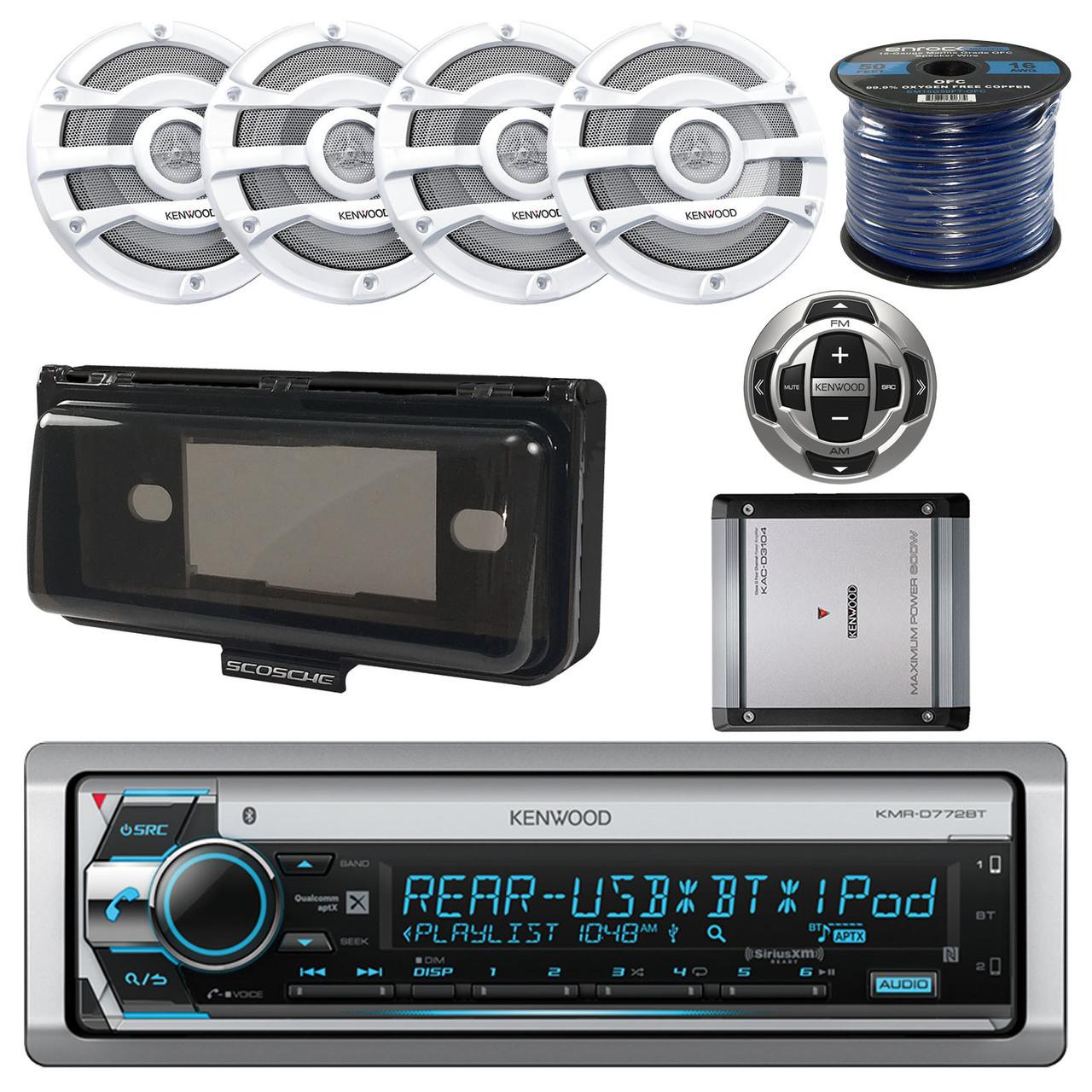 Kenwood Boat 400W Amp,Bluetooth CD Radio/Remote,8