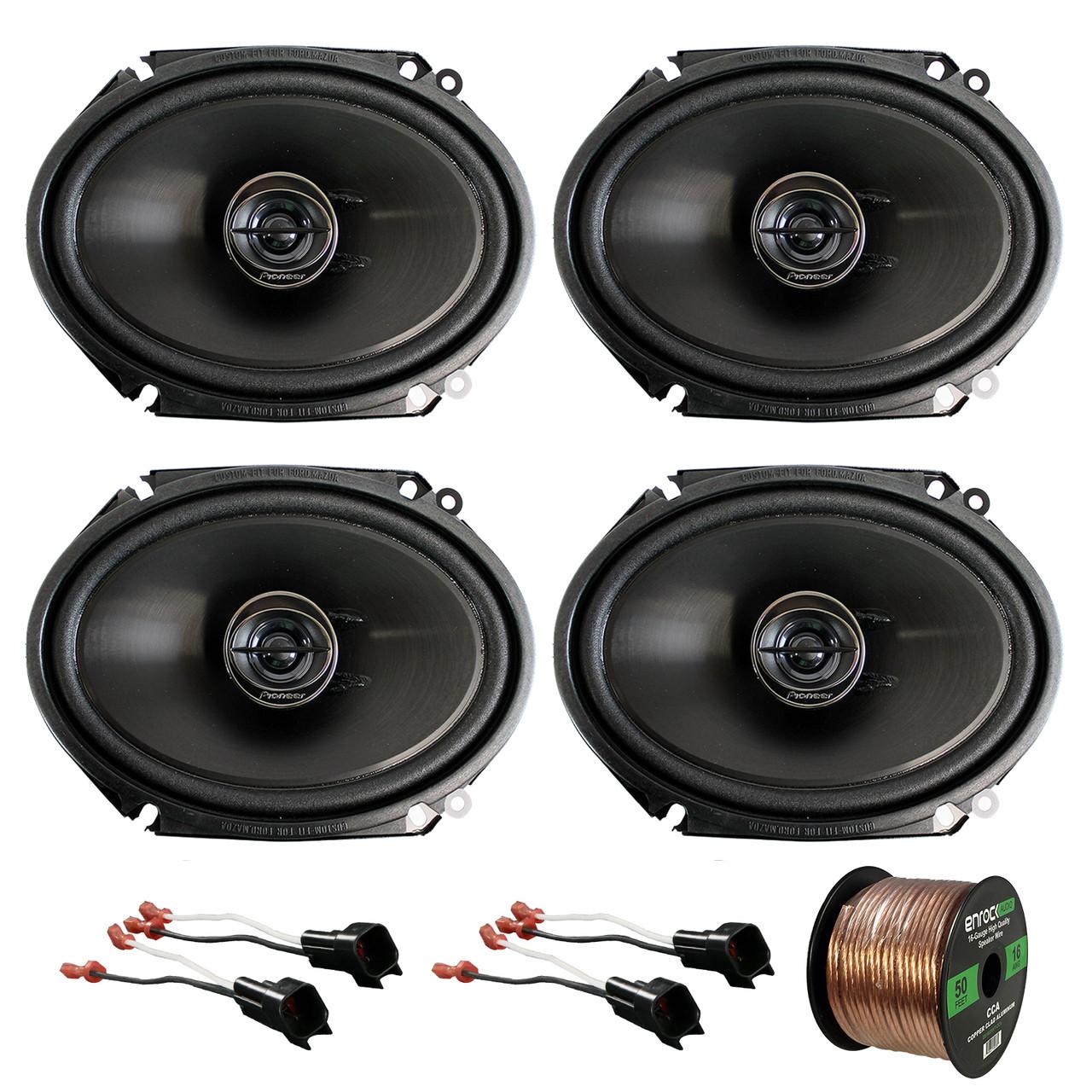 "2x Harness,16-G 50 Ft Wire 2x Pioneer 6x8/"" 250W 2-Way Multi-Element Speakers"