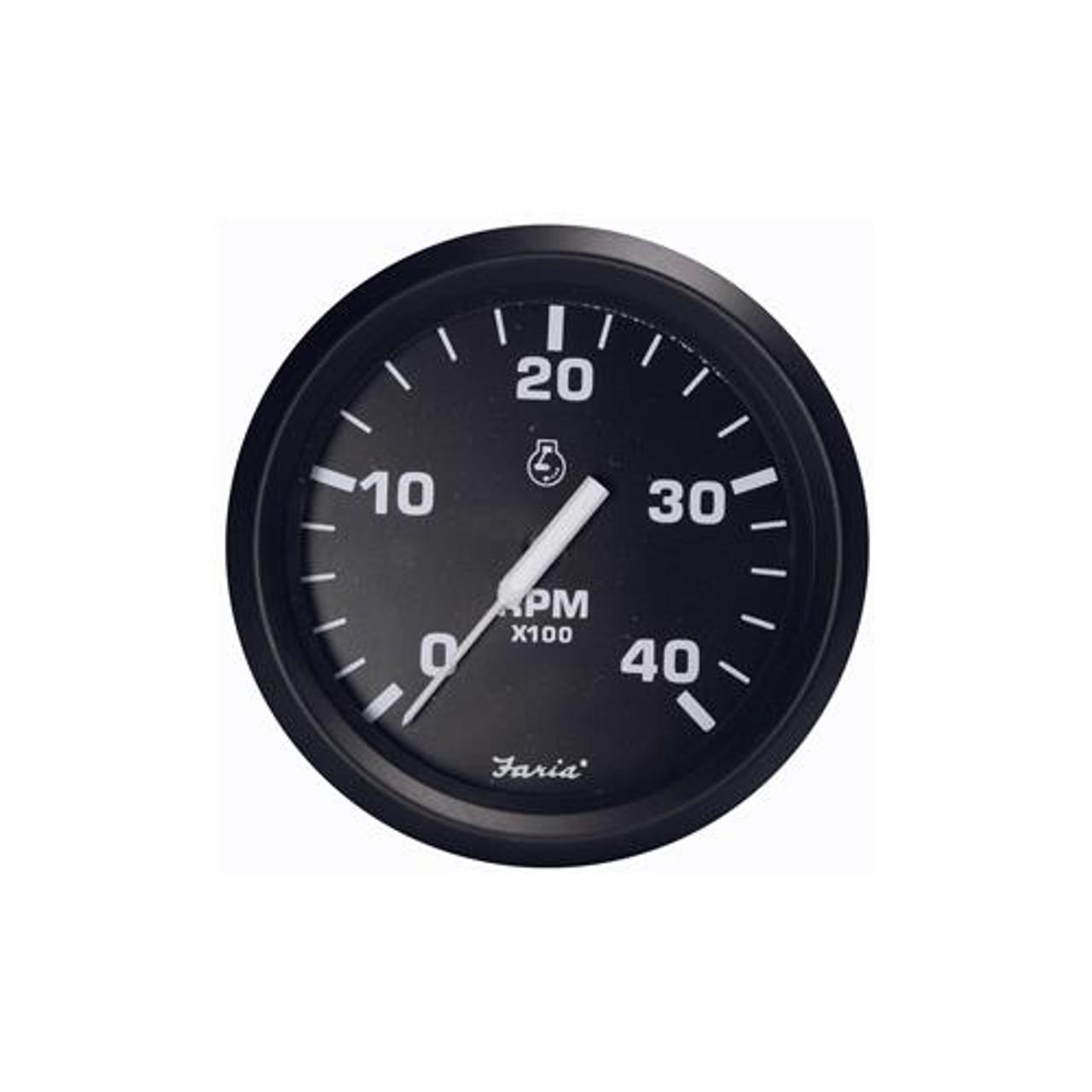 "4,000 RPM Faria Chesapeake Black SS 4/"" Tachometer Diesel"