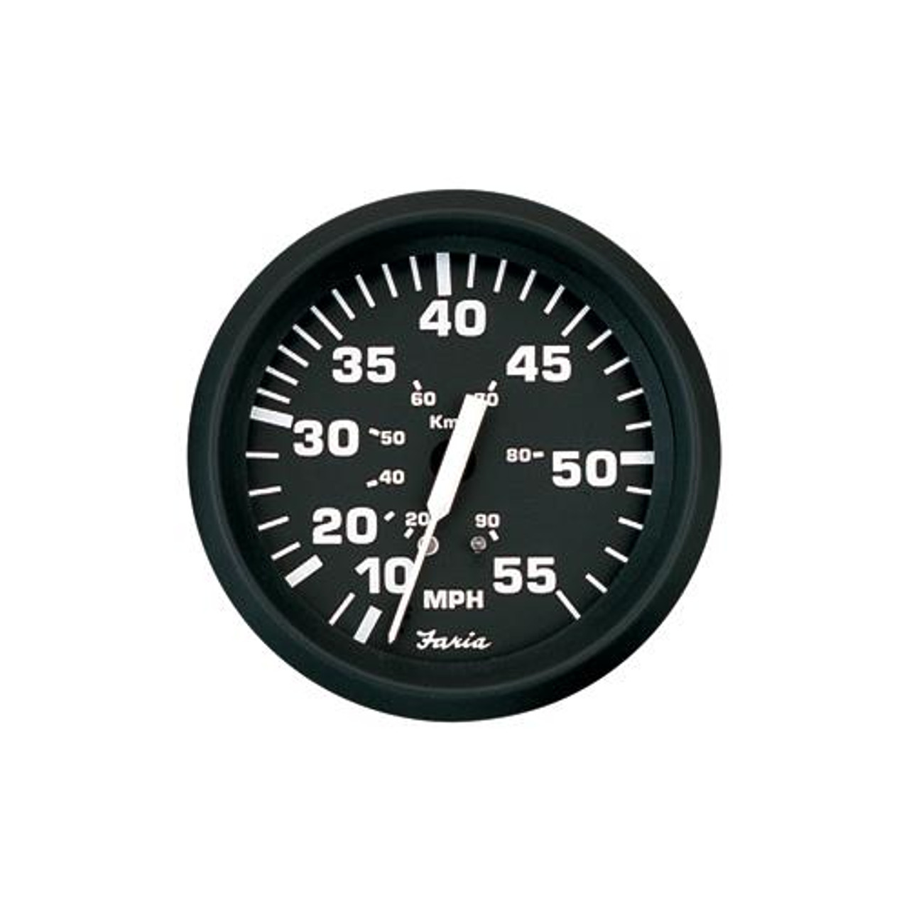 Mechanical Faria 4 Speedometer - Euro White 80MPH