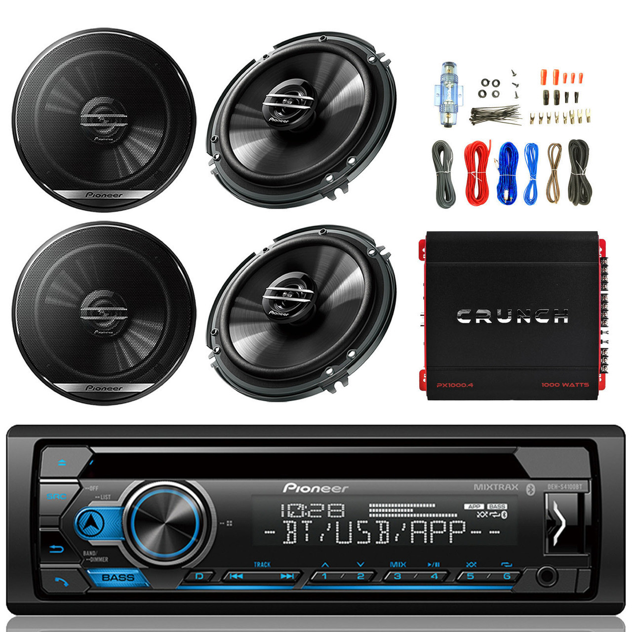 """2x 6.5/"""" Speakers 18G 50Ft Wire Crunch Amp Pioneer Vehicle CD Player Receiver"""