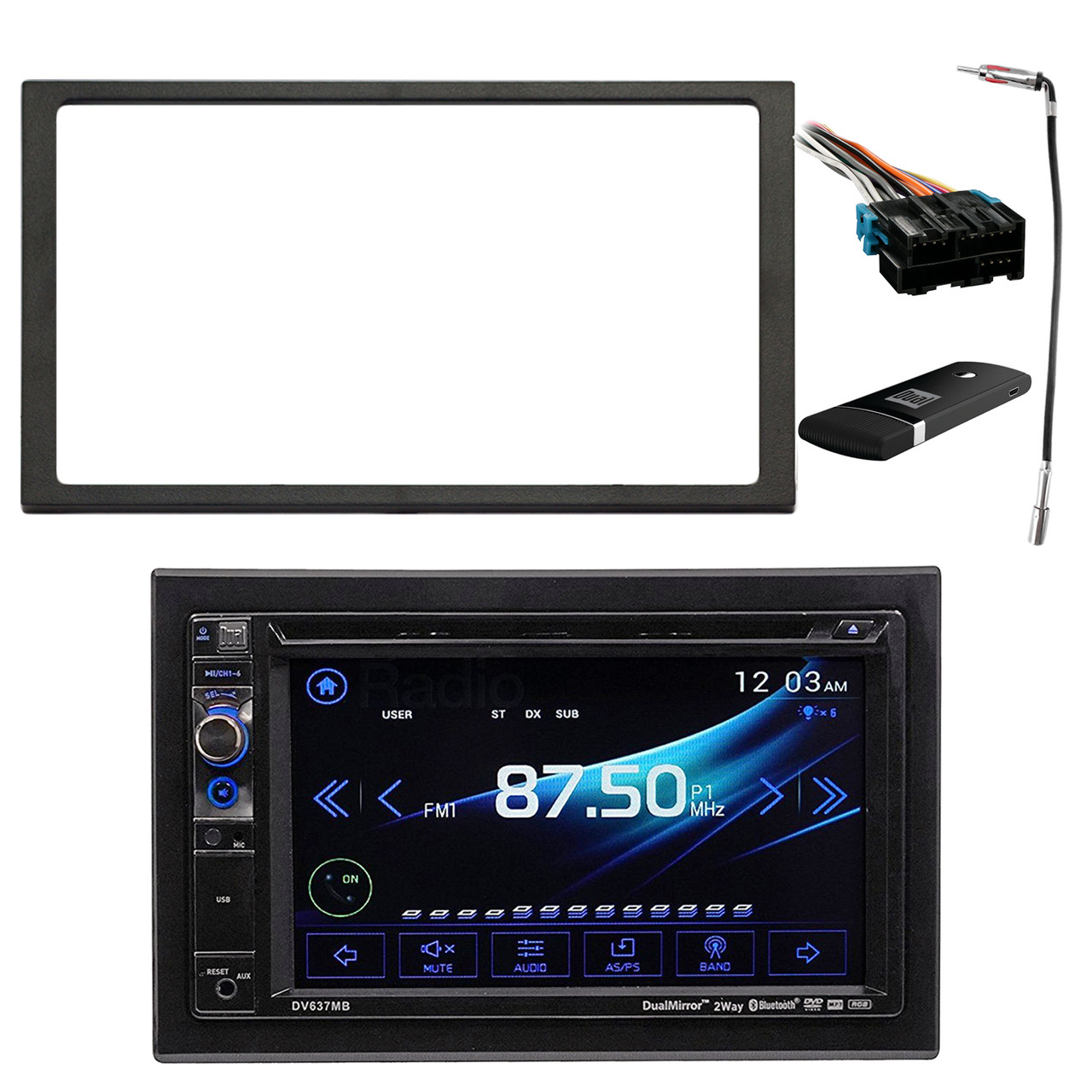 touch audio wiring dual av double din 6 2  touch screen dvd bluetooth usb receiver  touch screen dvd bluetooth usb receiver