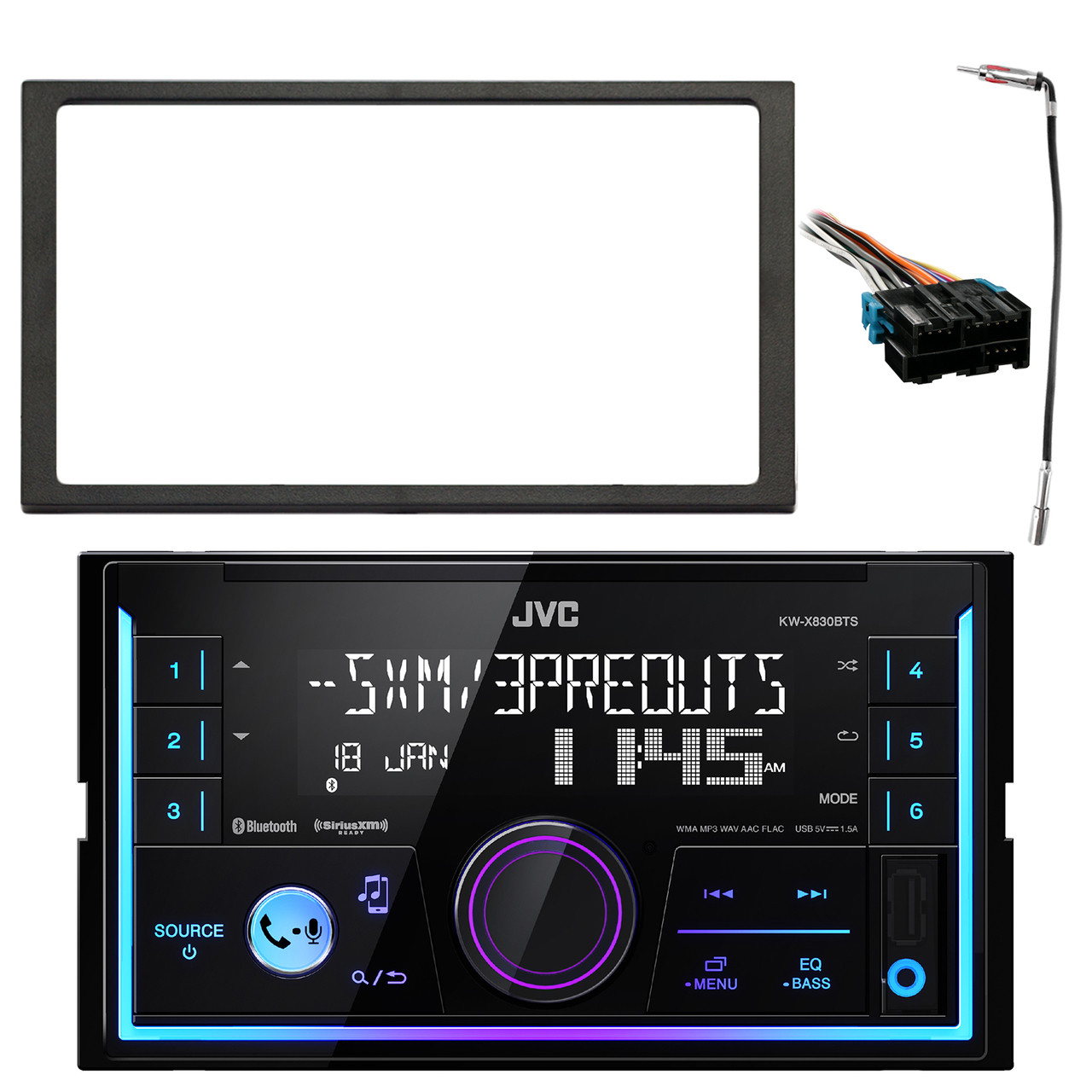 JVC KWX830BTS Double DIN Car Audio USB Bluetooth Digital Media ... on