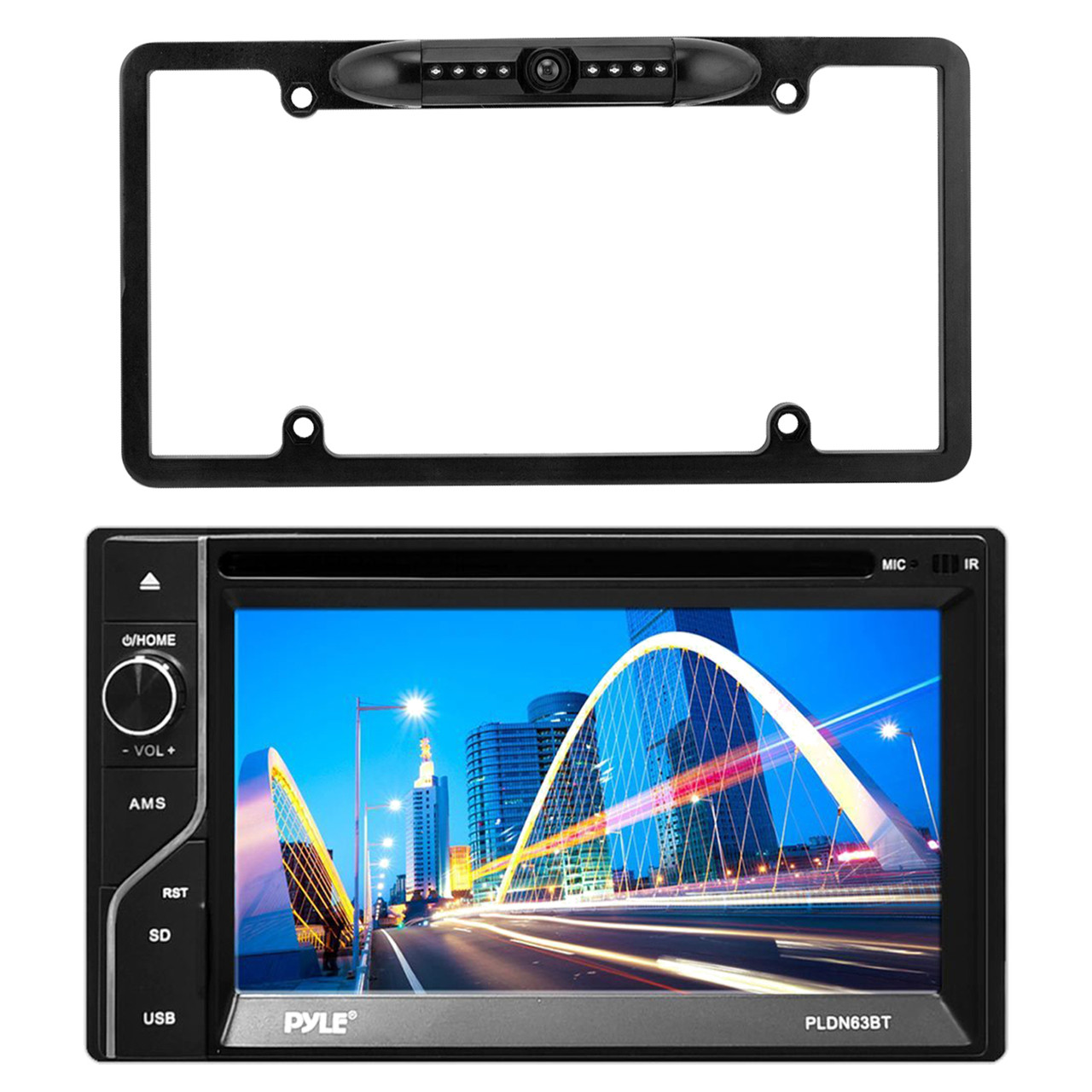 Enrock EABC256B Car License Plate Frame Rear View Backup Night Vision Waterproof Camera with Parking Assist /& Distance Scale Lines