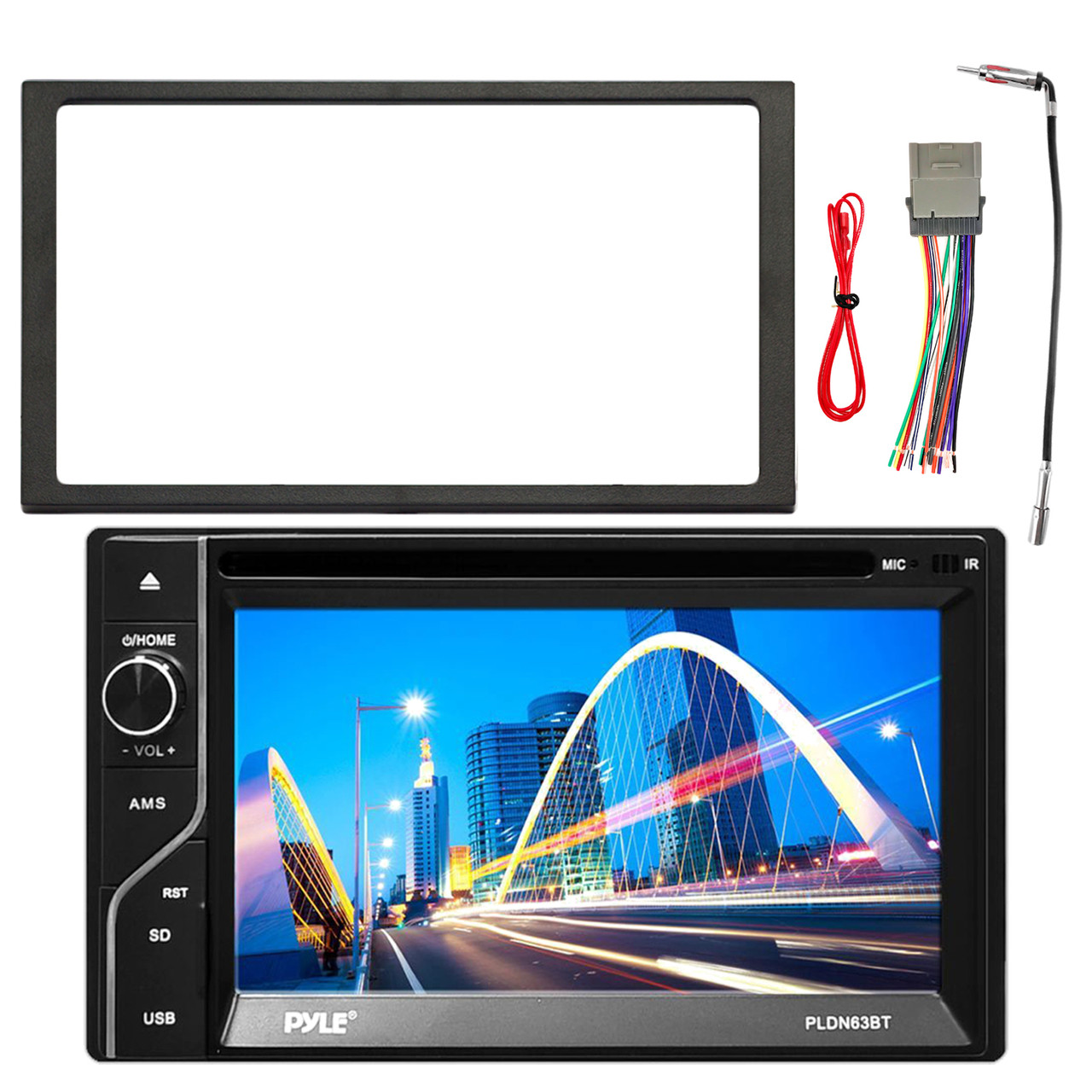 pyle 6 5\u0027\u0027 touch screen tft lcd monitor mp3 usb am fm bluetooth receiver, enrock double din installation dash kit, enrock stereo wiring harness, Car Audio Wiring