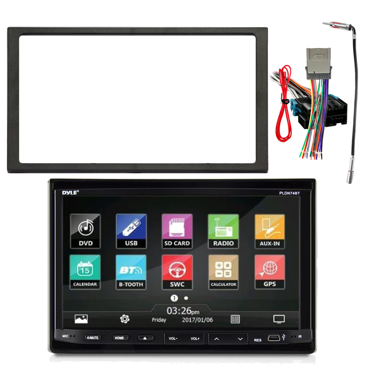 Pyle PLDN744 7-Inch Double Din In-Dash Motorized Slide-Down Touch Screen  Car Stereo Receiver with Bluetooth, Enrock Double DIN Installation Dash Kit,  Enrock Stereo Wiring Harness, Enrock Antenna Adapter - Road Entertainment | Pyle Audio Wiring Harness B |  | Road Entertainment
