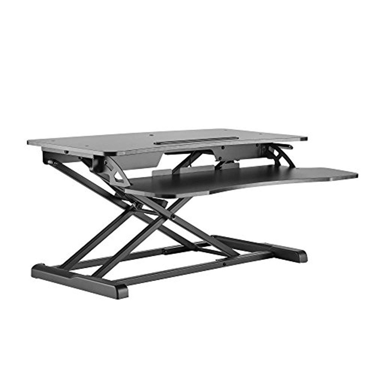Pyle Ergonomic Standing Desk & PC Monitor Riser - Height Adjustable Laptop  & Computer Table w/ Wide Keyboard Tray - Black Sit & Stand Desktop