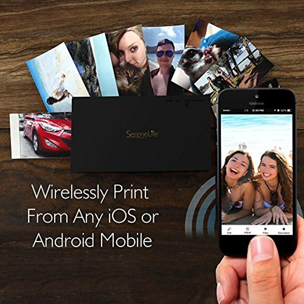 buy online 27cd8 6ed10 SereneLife Portable Instant Mobile Photo Printer - Wireless Color Picture  Printing from Apple iPhone, iPad or Android Smartphone Camera - Mini  Compact ...