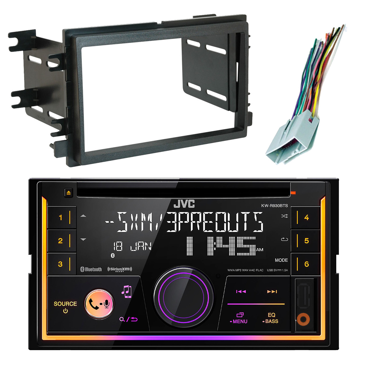 JVC KWR930BTS 2-DIN USB CD Bluetooth Radio, Scosche Dash Kit, Radio on