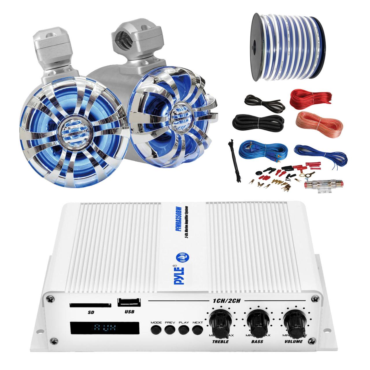 Pyle Marine PFMRA350BW 2-Channel Bluetooth White Amplifier, Pyle 6.5