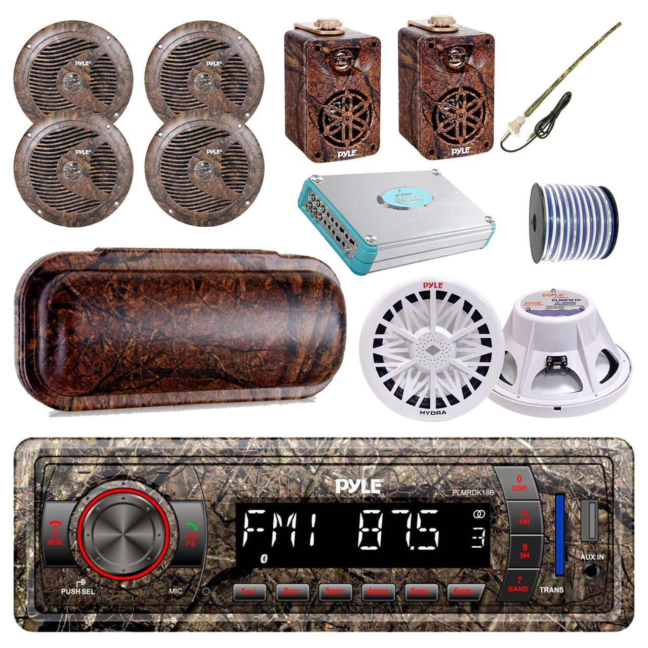 "Pyle Marine Bluetooth Camo Radio 2x 3.5"" Speakers 50 Ft Wire Cover Antenna"