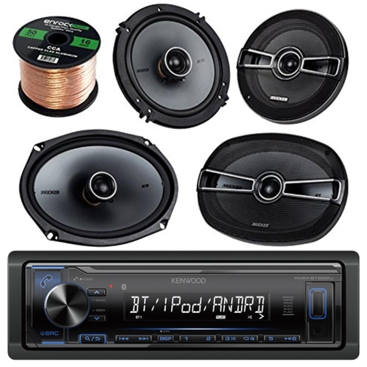 "Bluetooth Single DIN Receiver Accessories 6.5/"" Speakers 2x Wakeboard Speakers"
