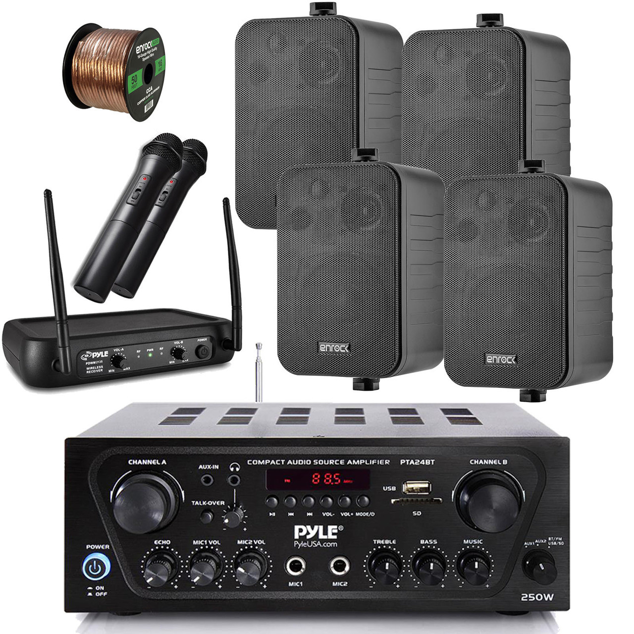 Pyle Wireless Bluetooth Stereo Receiver Amplifier, Dual Channel VHF  Wireless Microphone System, 4X Enrock EKMR408B 4