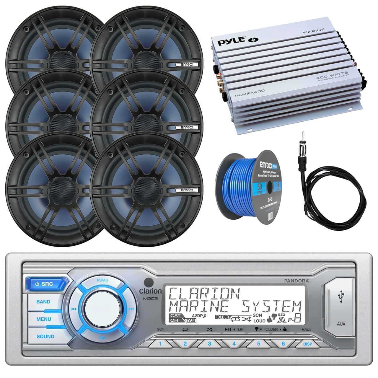 Motorcycle Stereo Sound Audio System+iPOD//MP3//AUX Input+400-Watt Amp+2 Speakers