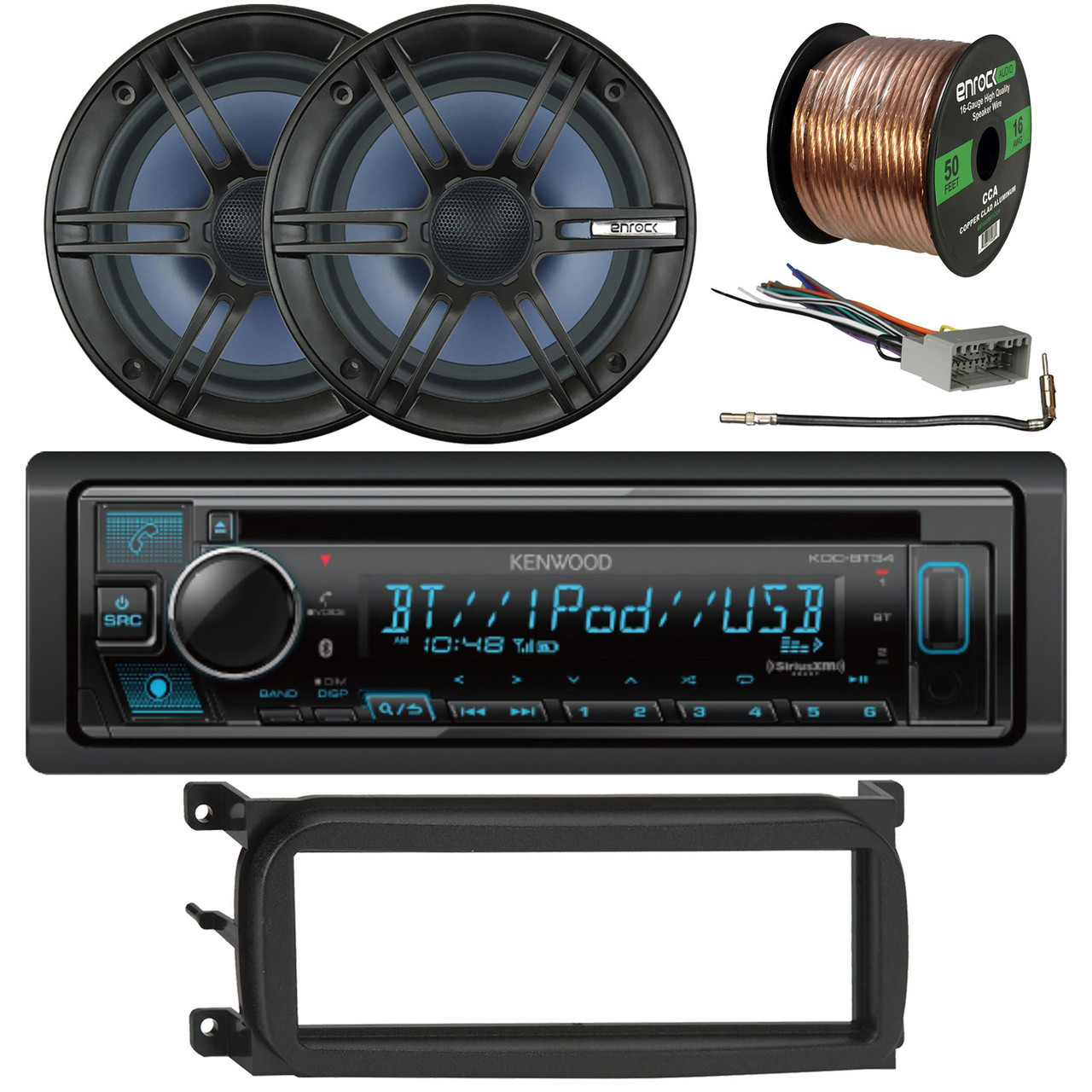NEW KENWOOD 3-WAY STEREO FRONT OR REAR AUDIO SPEAKERS W INSTALL KIT AND HARNESS