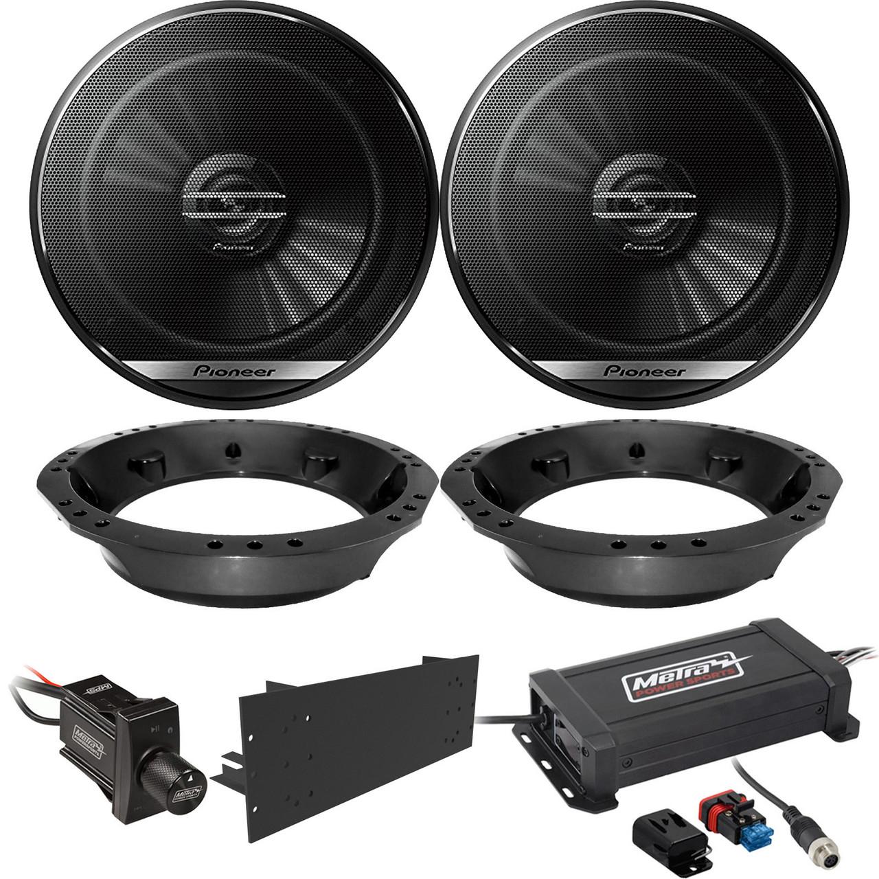 Wireless Car Speakers >> 2 X Pioneer 6 5 2 Way 300w Coaxial Car Speakers Metra Powersports 2 Channel Amplifier Bluetooth Wireless Controller Amplifier Mounting Brackets 2