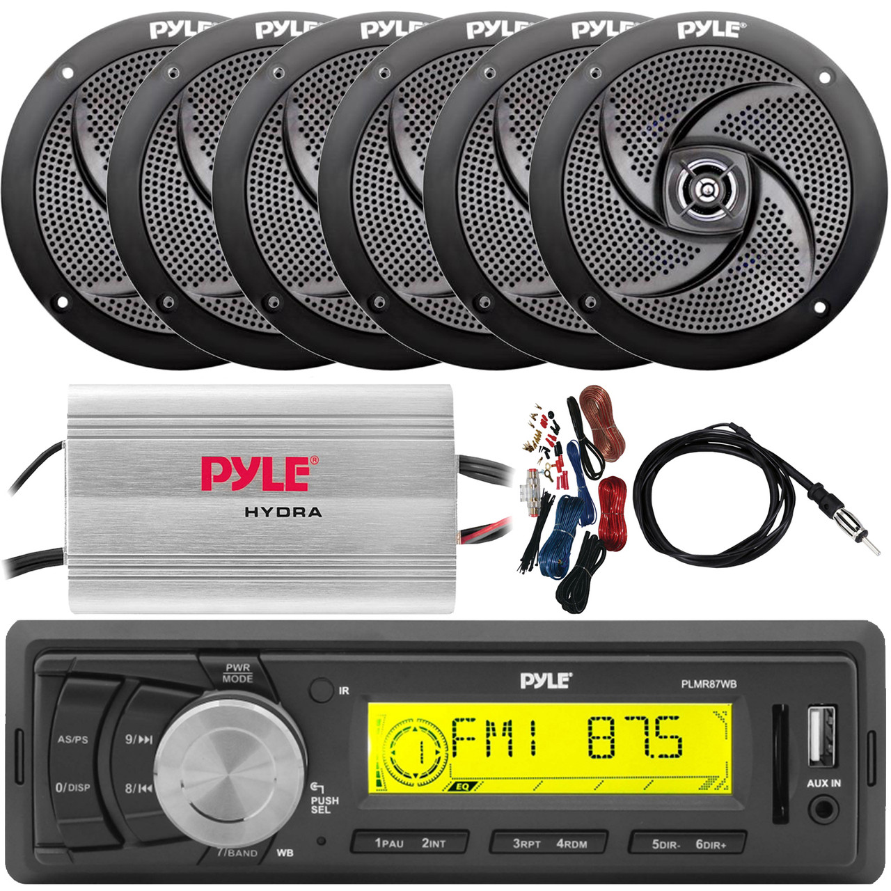 4/'/' Dual Cone Stereo Speakers Pyle IN-Dash Marine MP3 Player//Weatherband//USB/&SD