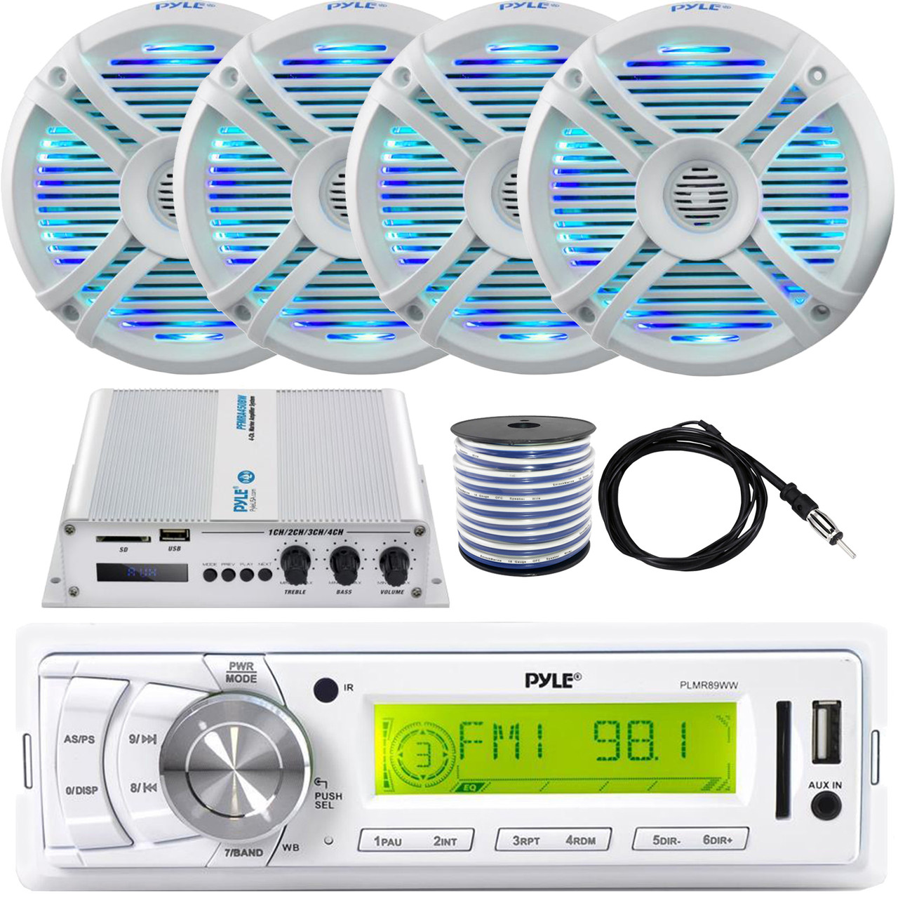 "6.5/"" Dual Waterproof Marine Speakers LED Light Mount Kit Speaker Wire Grill Pyle PLMRX68LEW 250W Outdoor Car//Boat Stereo Speakers Waterproof//Weather Proof Marine Stereo Speakers System Pair"