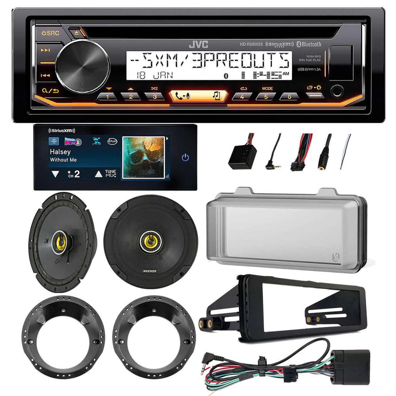 FOR 98-13 HARLEY TOURING RADIO INSTALL ADAPTER W// THUMB CONTROL INTERFACE STEREO