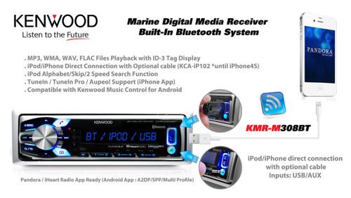 New Kenwood USB Marine Radio,4 Silver Box Speakers,Antenna,Wired  Remote+400W Amp
