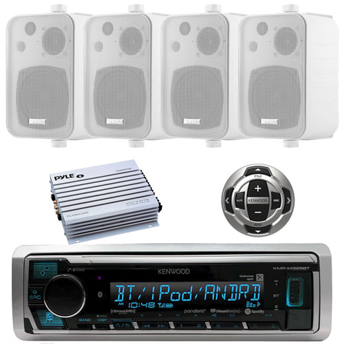 Enrock EKMSW35 Pk of 4  White 200W Box Marine Waterproof Hanging Speaker System