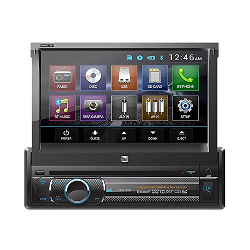 Dual XDVD136BT Flip Out Touchscreen Bluetooth DVD Radio, Dash Kit, on