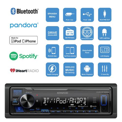 Kenwood KMM-BT225U Single-DIN Digital Media Bluetooth Receiver, 2 x Kenwood  KFC1666S 6 5