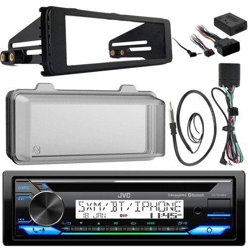 Weathershield Cover Enrock Wire Antenna Handle Bar Control JVC KDR99MBS Marine Radio Stereo Receiver for 1998-2013 Harley Davidson Touring Flht Flhx Flhtc Bundle With Metra Adapter Dash Kit