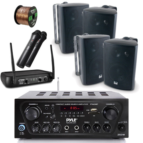 Pyle Wireless Bluetooth Stereo Receiver Amplifier, Dual Channel VHF  Wireless Microphone System, 4X Dual Electronics 4